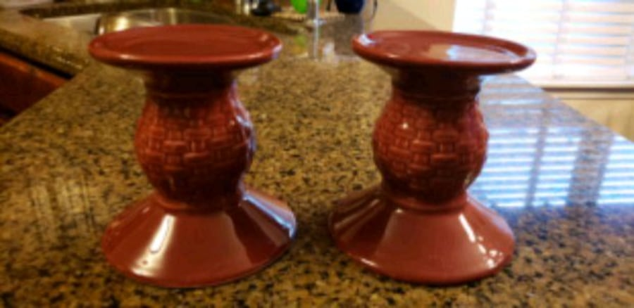 Longaberger Woven Traditions Pillar Candle Holders 02053572-7612-4437-aef6-69664f95a39e
