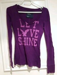 Purple Top Long Sleeve V Neck Slim Sleeves XS