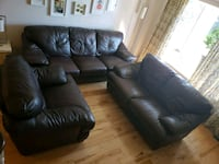 brown leather 3-seat sofa and loveseat Toronto, M4A 1C5