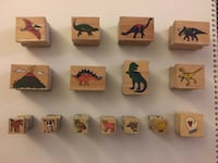 Lot of 15 Dinosaur/Farm Animal Wood Mount Rubber Stamps