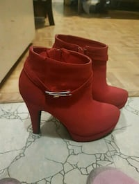 pair of red suede platform heeled booties Toronto, M9A