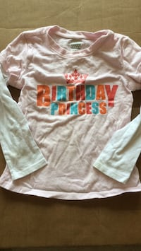 3T Birthday Princess long sleeved shirt (pink with white sleeves)