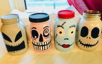 The gang from Nightmare Before Christmas Painted Mason Jars Set of 4 Oklahoma City, 73135