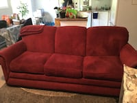Red  3-seat sofa lazy boy material Langford, V9C 2P2