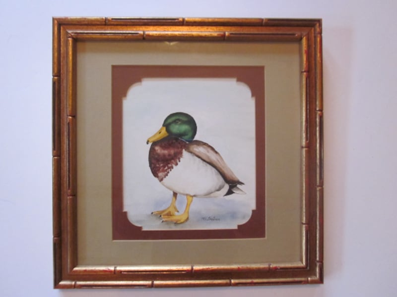 Original Duck Watercolor M.L. Troutman Signed Framed 0