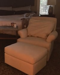 white leather sofa chair and white ottoman Fort Myers