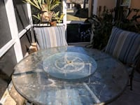 Glass patio table with lazy Susan Holiday, 34691