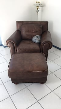 Brown leather chair and ottoman used Fort Myers, 33919