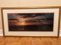 Large Sunset Art Gold Wood Frame - 30 inches x 16 inches Toronto
