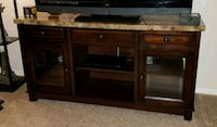 brown wooden TV stand with marble top San Antonio, 78232