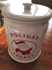 pottery barn Holiday Santa cookie ceramic container Jar Wilmette, 60091