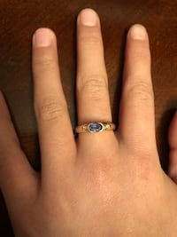 14k yellow gold tanzanite and diamond ring * beautiful *