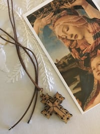 Delicate carved wood Cross pendant necklace with leather chain / visit for more jewelry