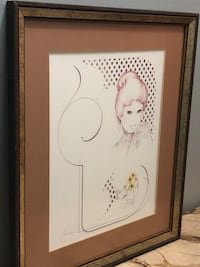 Vintage 1970s William Tara Framed Sketch art, Big Eyed Lady, Signed Whitby, L1N 5V1