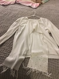 Pure white sweater with sparkles and scarf included  Maple Ridge, V4R 2W6
