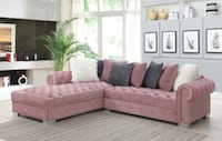 NEW PINK VELVET SECTIONAL Clifton, 07013