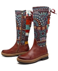 Leather Knee Boots, Women's Bohemian Splicing Pattern Flat Knee High Boots (size 5) Eastvale, 92880