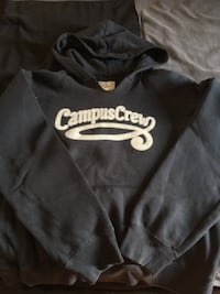 black Campus Crew print pull over hoodie 534 km