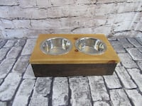 Raised Dog Dish Small to Medium Dogs Natural and Kona Mission