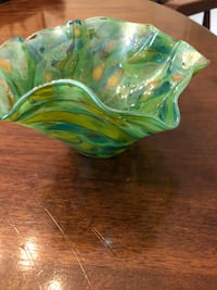 green and yellow glass bowl Greer