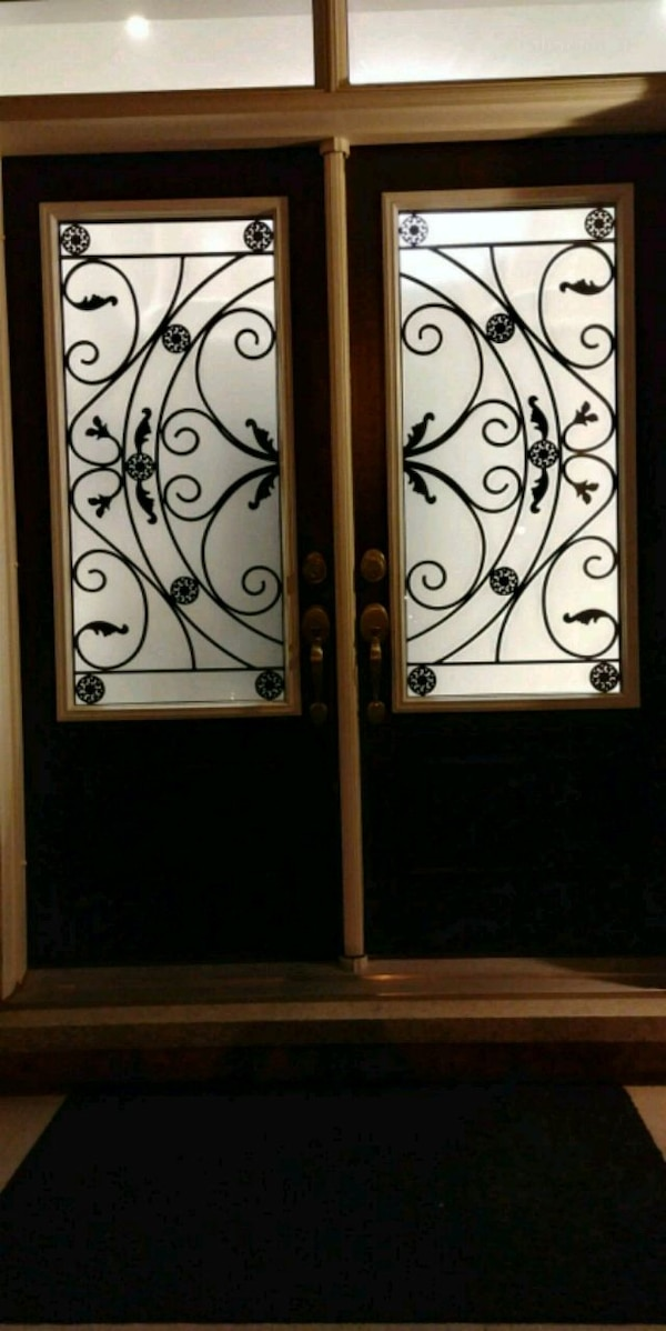 NEW WROUGHT IRON AND DECORATIVE GLASS INSERTS