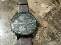 Oulm big face watch with a leather band Des Moines