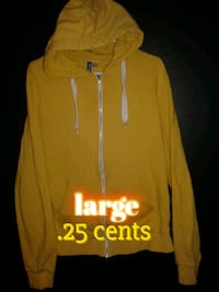 yellow and white Hollister zip-up hoodie
