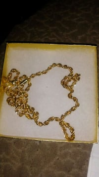 gold-colored chain necklace with box Paterson, 07522