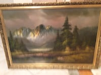 Snowy Mountain and tree painting with brown wooden frame