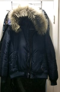 Navy Blue Guess Bomber Style Down Jacket, with removable hood and fur