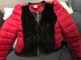Celyn B Zémire down denim and fur coat/jacket