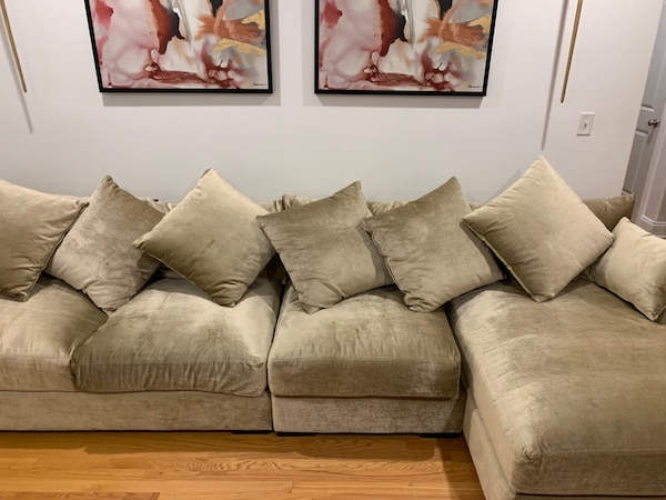 Z GALLERIE STELLA 3-PIECE SECTIONAL SOFA COUCH