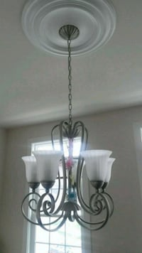 silver-colored and white uplight chandelier Towson