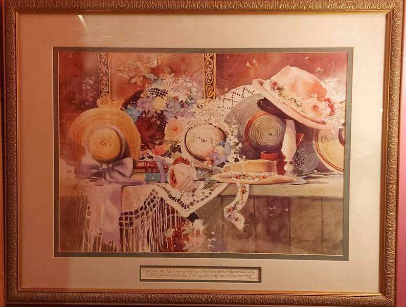 "LARGE FRAMED PICTURE: ""BONNETS AND BOWS"" (MARILYN SIMANDLE) 29c85481-0682-403b-8c78-667950a531f9"