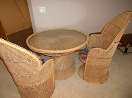 ROUND WICKER TABLE OR WICKER CHAIRS each