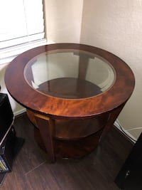Round End Wooden End Table