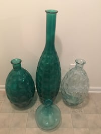 4 Large Peacock blue vases