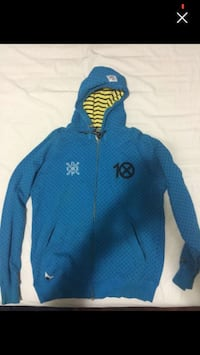 Men's blue dotted 10 deep size large zip-up hoodie