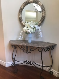 Brown marble and wrought iron custom entryway table.. fits on a curved wall   Thousand Oaks, 91320