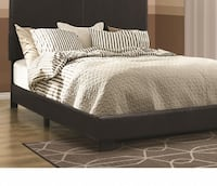 Brand New Black Leatherette Upholstered Queen Bed CHICAGO