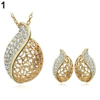 18K Gold Fill Rhinestone Pendant Necklace Earrings  Set London, N6P 1P6
