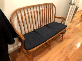 Indoor bench with cushions
