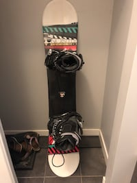 black and red snowboard with bindings null, T8H