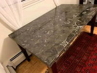 brown marble dinning table with 3 chairs  Toronto, M3C 1E6