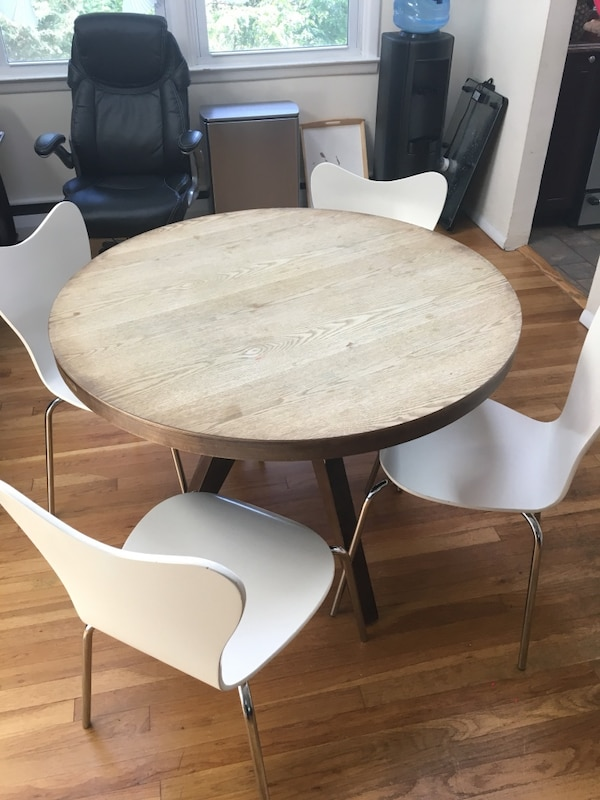 Gray and white wooden dinette set west elm