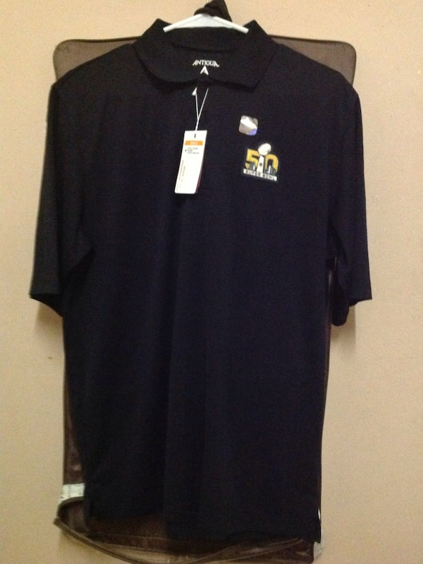 Black Men S Polo Shirt With Nfl 50th Super Bowl Logo Size M And