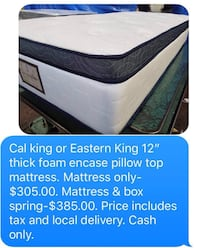"Cal king or Eastern king 12"" thick pillow top mattress Carson, 90745"