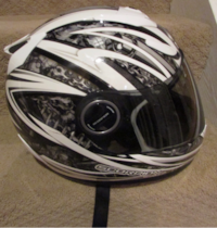 Scorpion EXO-700 Silver/Black/White Spigaw Designed - Medium Full Face Motorcycle Helmet ASHBURN