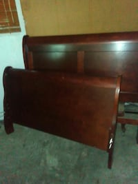 Cherry wood headboard and footboard with night sta