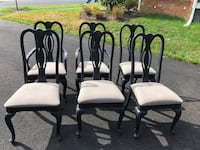 four white padded chairs with black steel frames Aldie, 20105